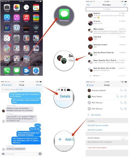 Mẹo thêm người nhận vào tin nhắn nhóm iMessage trên iOS 8