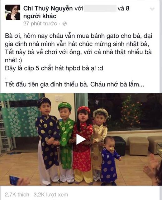 Chi Pu vẫn nhớ đến bà của mình, cô và gia đình đón Giao thừa cũng như mừng sinh nhật bà.
