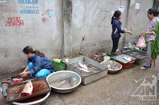 Đầy đủ các loại thực phẩm được bày bán...