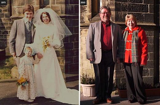 Có thêm một cậu con trai và cô con gái đáng yêu, không thể mặc vừa bộ đồ cưới là những thay đổi nổi bật sau cuộc hôn nhân tròn 40 năm của ông bà nhà Jeanneb.