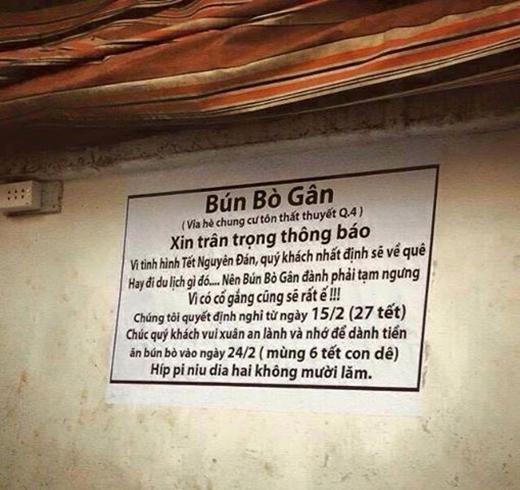 Tấm biển thông báo nghỉ tết của một quán bún bò đã khiến dân mạng cực kì thích thú vì độ bá đạo và hết sức dễ thương của chủ quán