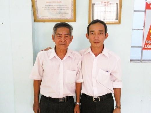 Ông Ngô Văn Sáng (trái) ở phường Hoà Bình, TP Biên Hoà (Đồng Nai) và một người dân dũng cảm tham gia bắt giữ nhiều vụ trộm cướp.