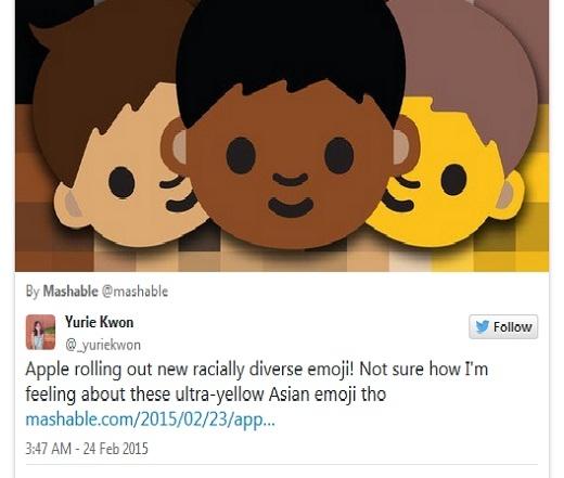 Người dùng Yurie Kwon: 'Apple đang phát hành biểu tượng đa sắc tộc mới! Nhưng tôi không chắc mình cảm thấy thế nào về màu da siêu vàng của emoji châu Á...'