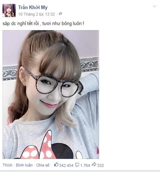 Mỗi chia sẻ của Khởi My đều có hàng trăm nghìn lượt like và comment. - Tin sao Viet - Tin tuc sao Viet - Scandal sao Viet - Tin tuc cua Sao - Tin cua Sao