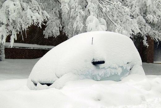 Chiếc xe dường như biến mất trong tuyết trắng
