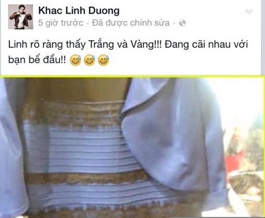 Nhạc sĩ Dương Khắc Linh thì lại cho rằng chiếc váy có màu trắng - vàng. - Tin sao Viet - Tin tuc sao Viet - Scandal sao Viet - Tin tuc cua Sao - Tin cua Sao