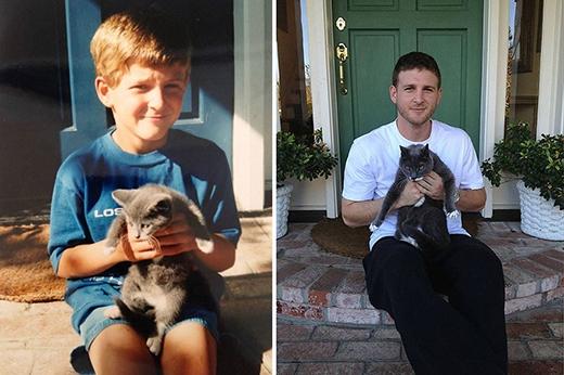 Chủ và mèo đã vô cùng khác biệt sau 17 năm.