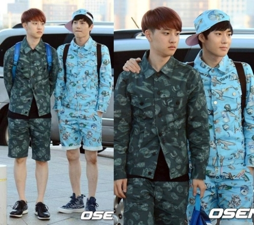 D.O.vàSuho (EXO)gây chú ý khi diện 2 bộ đồ cùng phong cách. Các fan thích thú trêu đùa cả hai đang cố gắng trở thành anh em ruột của nhau.