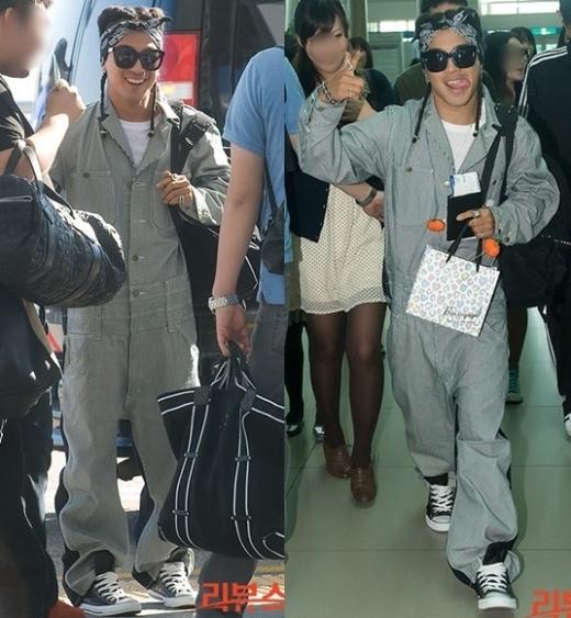 """Bộ jumpsuit độc đáo cùng với kiểu tóc """"không đụng hàng"""" đã giúpTaeyangnổi bần bật tại sân bay."""