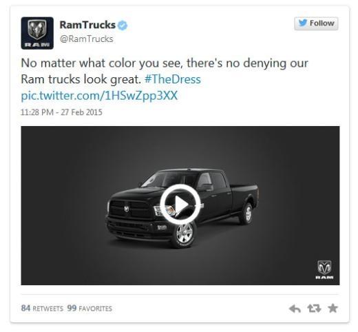 Hãng xe tải RamTrucks: 'Dù nhìn thấy màu gì, bạn đều không thể phủ nhận những chiếc xe tải Ram nhìn thật tuyệt vời.'
