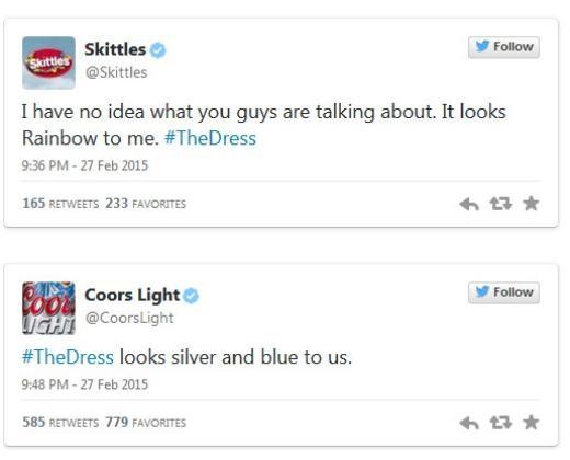 Whataburger: 'Chiếc váy thực ra có màu cam.' Skittles cho rằng váy có màu cầu vồng còn Coor Lights khẳng định nó màu bạc và xanh.