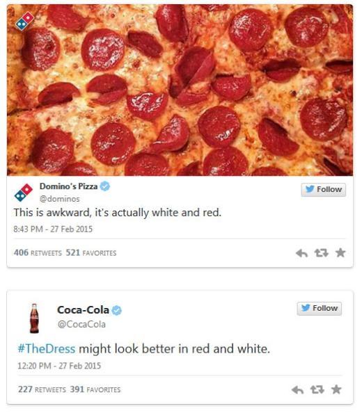 Domino's Pizza và Coca Cola đồng quan điểm rằng váy màu đỏ và trắng.