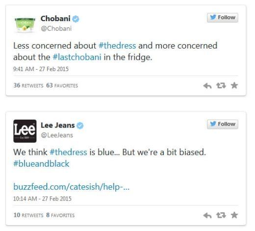 Chobani không quan tâm đến chiếc váy, trong khi Lee Jeans cho rằng: Nó màu xanh da trời... nhưng chúng tôi có hơi thiên vị.