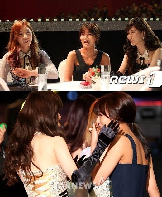 """Ngoài ra, tại một sự kiện âm nhạc,Taetiseomừng như """"vớ được vàng"""" khi bắt gặpSubin (Wonder Girls)và """"bắt cóc"""" cô bạn đến ngồi cùng bàn."""