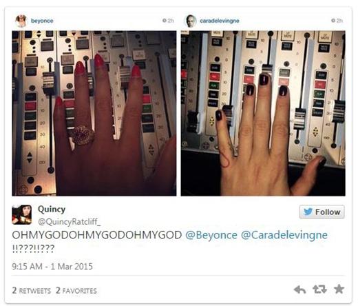 """Cô bạn Quincy lại có vẻ như không thể kiềm chế được sự phấn khích của mình và chỉ có thể thốt lên: """"ÔICHÚAƠI ÔICHÚAƠI ÔICHÚAƠI @Beyonce @Caradelevingne""""."""
