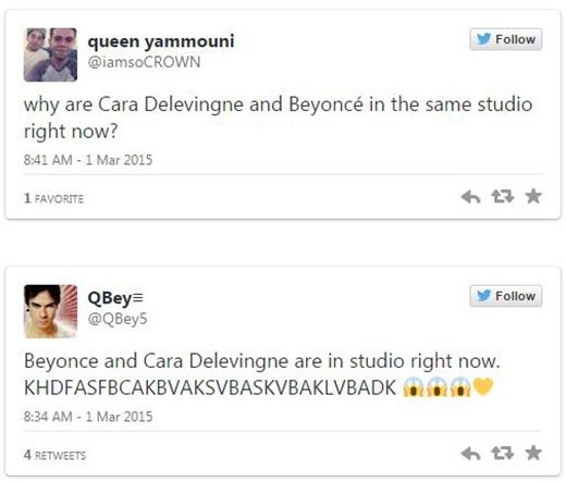 """Hay một fan khác của Beyonce cũng đã hoảng loạn không kém: """"Beyonce và Cara Delevingne đang ở trong studio ngay lúc này. KHDFASFBCAKBVAKSVBASKVBAKLVBADK""""."""