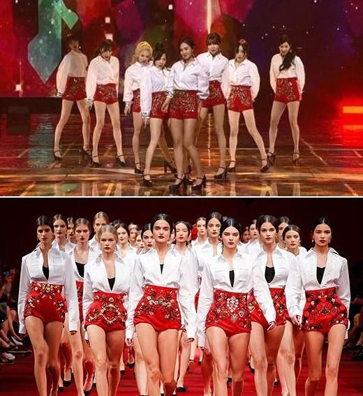 """Xuất hiện trong chương trình cuối năm của đài KBS, các cô gáiSNSDcuốn hút với trang phục áo trắng váy đỏ đơn giản, cá tính. Làn sóng chỉ trích nhanh chóng dấy lên mạnh mẽ cho rằngSNSDđạo nhái trang phục và bực bội vì lời giải trích khá """"ngông"""" của stylist. Sau đó, SM phải lên tiếng đính chính rằng trang phục đã nhận được sự cho phép của nhãn hiệu Dolce & Gabbana trước khi trình diễn trên sân khấu."""
