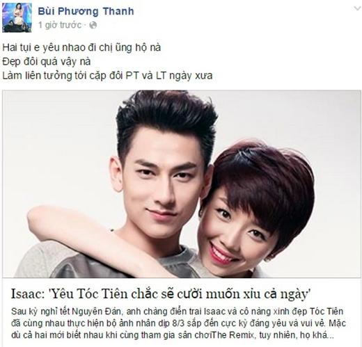 Phương Thanh ủng hộ Isaac và Tóc Tiên đến với nhau - Tin sao Viet - Tin tuc sao Viet - Scandal sao Viet - Tin tuc cua Sao - Tin cua Sao