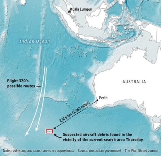 Australia cho biết họ phát hiện các vật thể tình nghi liên quan đến MH370 (khu vực chữ nhật đỏ) ở điểm cách thành phố Perth khoảng 2.350 km về tây nam. Ảnh: WSJ