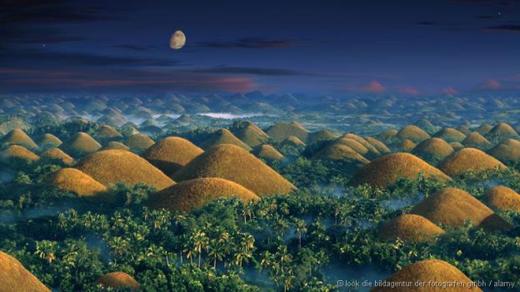 Có khoảng 1.500 gò đá vôi ở tỉnh Bohol của Philippines. Chúng thường được bao phủ dưới cỏ, nhưng chuyển sang màu nâu đậm vào mùa khô. Ảnh: Alamy