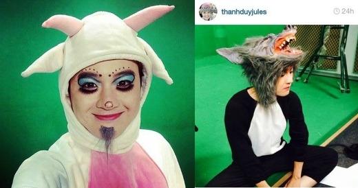 Không biết có ai nhận ra đây là anh chàng Thanh Duy đến từ cuộc thi Vietnam Idol không nhỉ. Hóa thân thành 2 nhân vật hoạt hình vui nhộn là dê và sói, Thanh Duy đang cố gắng thử thách xem có ai nhận ra mình không.