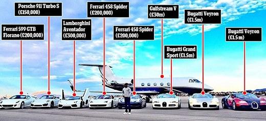 Bên cạnh bộ sưu tập xe hơi, Mayweather còn sở hữu cả một chiếc phản lực cơ Gulfstream V trị giá gần 46 triệu đôla (hơn 900 tỷ đồng) để di chuyển.