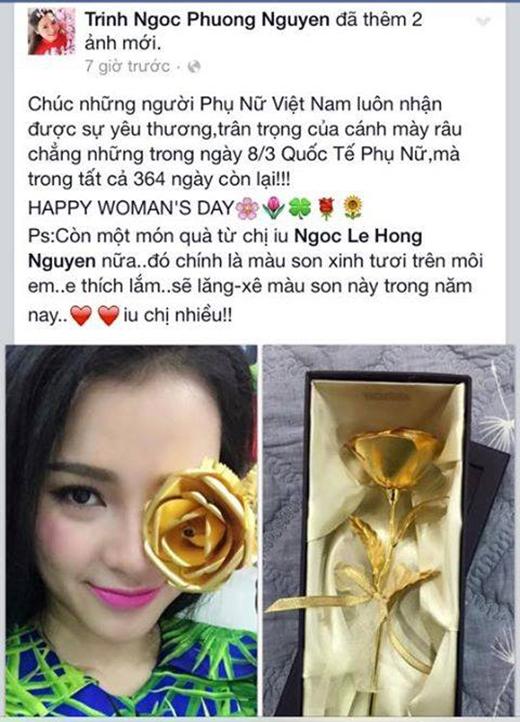 Phương Trinh Jollie nhận được cành hoa hồng vàng xinh xắn. - Tin sao Viet - Tin tuc sao Viet - Scandal sao Viet - Tin tuc cua Sao - Tin cua Sao