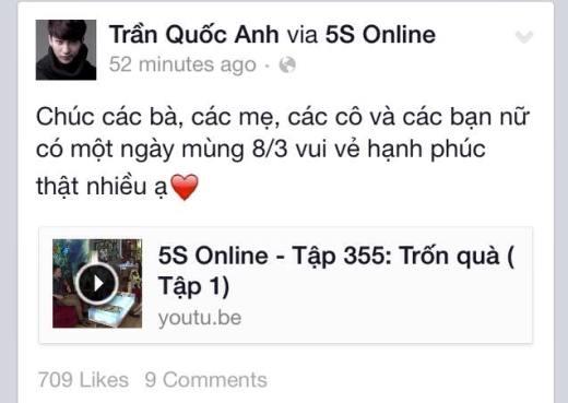 Anh chàng Bê Trần thì lại dành tặng một sản phẩm của mình là tập 355 của 5s Online thay cho quà tặng gởi tới tất cả phái đẹp.