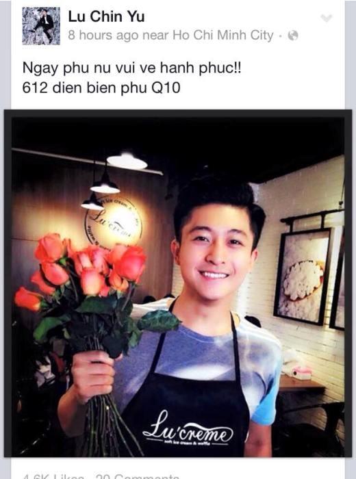 Harry Lu là một trong những anh chàng hot boy đầu tiên gởi những lời chúc 8/3 cùng những bông hoa tươi thắm tới 'nửa kia' của thế giới. Cô gái nào nhận được đóa hoa này của Harry Lu chắc chắn sẽ vô cùng hạnh phúc đó.