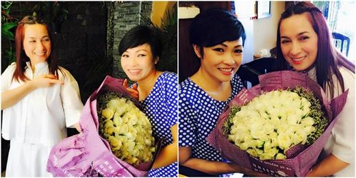Hai nữ ca sĩ Phương Thanh và Phi Nhung không có ai tặng hoa nên đành... tự tặng cho nhau. - Tin sao Viet - Tin tuc sao Viet - Scandal sao Viet - Tin tuc cua Sao - Tin cua Sao