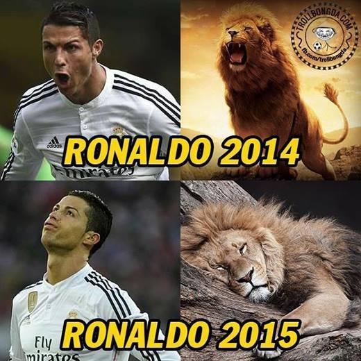 Ronaldo của năm 2014 dũng mãnh như một chú sư tử khát mồi bao nhiêu thì đến năm 2015, khi dường như đã sưu tập đầy đủ các danh hiệu cá nhân và tập thể, thìđang dần đánh mất bản thân của mình.