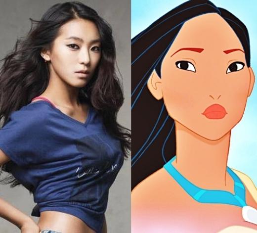 Ngoại hình khỏe khoắn cùng làn da bánh mật của Bora (Sistar) làm nhớ đến nàng công chúa da đỏ Pocahontas thông minh, xinh đẹp.