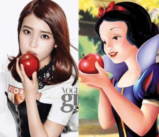 Hình ảnh IU trong tạp chí khiến các fan liên tưởng ngay đến một nhân vật nổi tiếng với quả táo, chính là Bạch Tuyết.