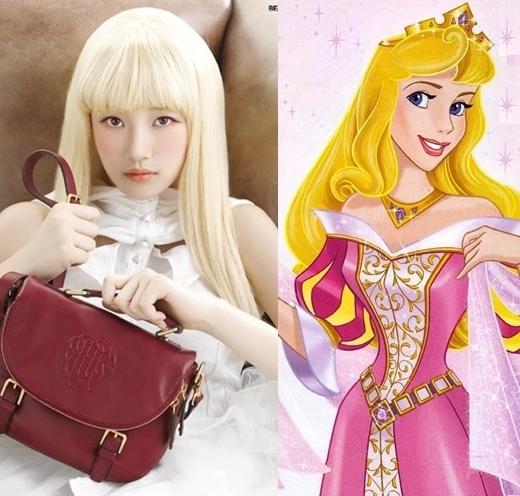 Suzy rất ít khi diện tóc màu sáng nhưng cô nàng trông không khác công chúa ngủ trong rừng Aurora trong một buổi chụp hình tạp chí.