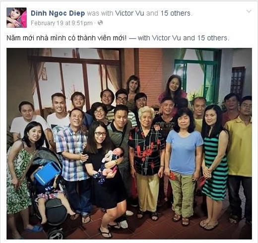 Đinh Ngọc Diệp chia sẻ hình ảnh đại gia đình mình lên facebook với caption Năm mới nhà mình có thành viên mới. - Tin sao Viet - Tin tuc sao Viet - Scandal sao Viet - Tin tuc cua Sao - Tin cua Sao