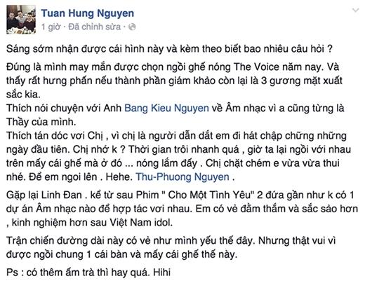 Tuấn Hưng xác nhận việc ngồi ghế nóng Giọng hát Việt 2015 cách đây vài ngày. - Tin sao Viet - Tin tuc sao Viet - Scandal sao Viet - Tin tuc cua Sao - Tin cua Sao