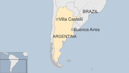 Vụ rơi máy bay xảy ra ởVilla Castelli, tỉnh La Rioja, tây bắc Argentina. (Đồ họa:BBC)