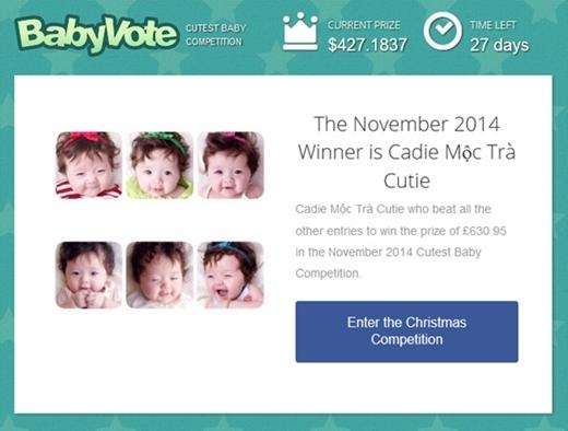 Cô công chúa nhỏ của Elly còn từng vượt qua nhiều đối thủ nặng kí khác giành danh hiệu Em bé được yêu thích nhất tại Anh trong cuộc thi Baby vote do trang web trẻ thơ hàng đầu thế giới tổ chức.