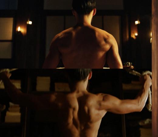 """Hyunbin là một trong số ít sao nam chịu """"khoe thân"""" trên màn ảnh, tuy nhiên khán giả đã có dịp chiêm ngưỡng tấm lưng săn chắc của anh trong The Fatal Encounter."""