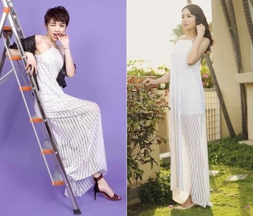 Gần đây nhất, Tóc Tiên và Hoa hậu Kỳ Duyên đã có một sự trùng hợp rất thú vị khi cả hai cùng chọn chiếc váy maxi xuyên thấu.
