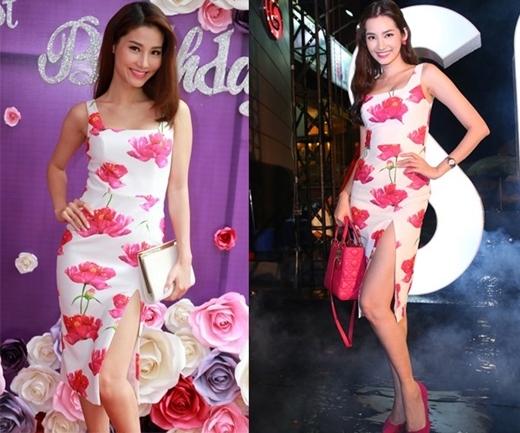 Với chiếc váy hoa ôm sát, Diễm My và Trúc Diễm đã khoe được thân hình lý tưởng, chuẩn mực của mình.