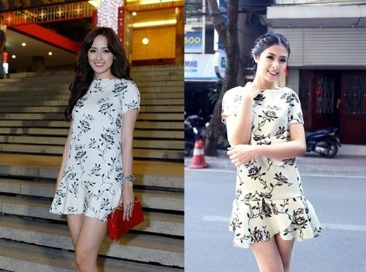 Hai Hoa hậu Mai Phương Thúy và Ngọc Hân đều ưu ái chọn chiếc váy hoa đơn giản nhưng không kém phần trẻ trung, trang nhã.