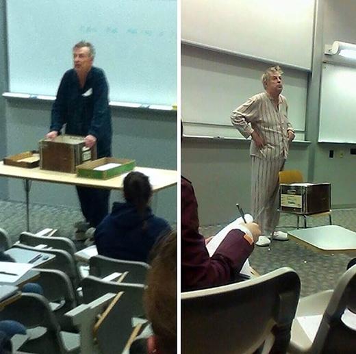 Xin lỗi các trò, mặc pijama khiến tôi giảng bài hấp dẫn hơn