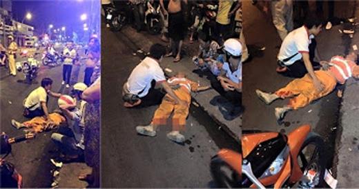 Hiện trường vụ tai nạn khiến chị công nhân vệ sịnh bị thương nặng và nằm bất tỉnh