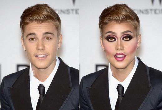 Màu mắt hồng không hợp vớiJustin Bieber tí nào.
