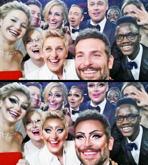 Bức ảnh tự sướng của các sao trong giải Oscarscũng được tân trang