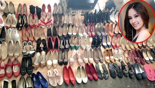 """Hoa hậu Việt Nam 2006 cũng là một """"tín đồ"""" của giày dép. Cô nàng sở hữu vô số những kiểu dáng và màu sắc khác nhau, trong đó, không ít đôi có giá trị hàng chục triệu đồng. - Tin sao Viet - Tin tuc sao Viet - Scandal sao Viet - Tin tuc cua Sao - Tin cua Sao"""