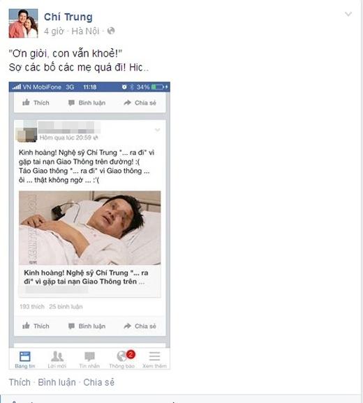 NSƯT Chí Trung chia sẻ đường link bài báo thất thiệt về sự sống chết của mình. - Tin sao Viet - Tin tuc sao Viet - Scandal sao Viet - Tin tuc cua Sao - Tin cua Sao