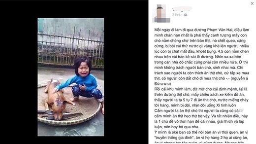 Bức ảnh bé gái khóc bên chú chó bị giết thịt lay động cư dân mạng