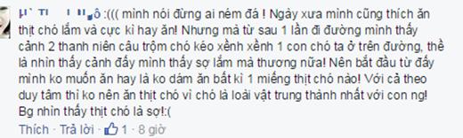 Đây là bình luận của một bạn từng có thói quen ăn thịt chó.